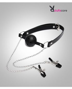 Couple Nipple Clamps Mouth Ball Gag Kit for Women