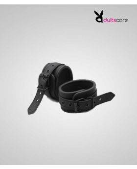 Black Leather BDSM Bondage Handcuffs