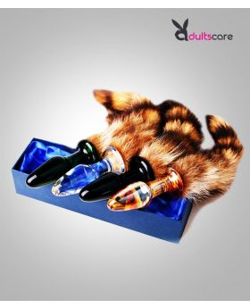 Raccoon Tail Glass Anal Plug  Massager