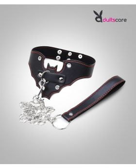 Genuine Leather Bat Shape Collar With Chain Leash