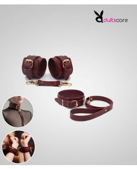 Burgundy Bondage Leather Restraint Set, Cuffs, and Collar
