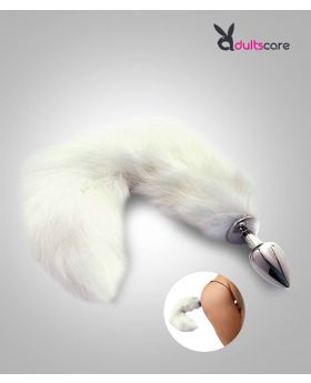 White Fox Tail Butt Plug